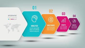Infographic business template with 4 step or option design vector