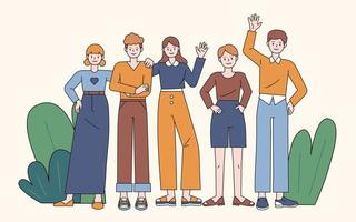 Young people are standing and waving their hands. flat design style minimal vector illustration.