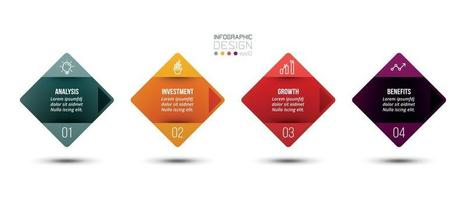 Infographic business template with 4 step or option desig vector
