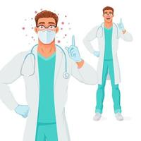 Doctor en guantes de máscara apuntando con el dedo hacia arriba para dar consejos ilustración vectorial vector
