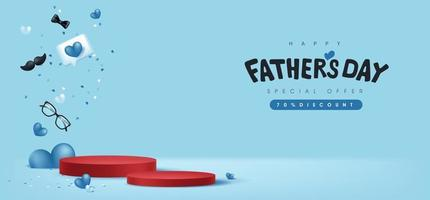 Tarjeta del día del padre con caja de regalo para papá sobre fondo azul. vector