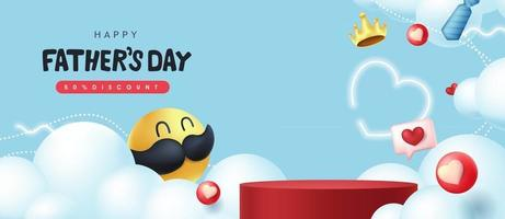 Fathers Day banner background with mustache smiley and product display cylindrical shape vector