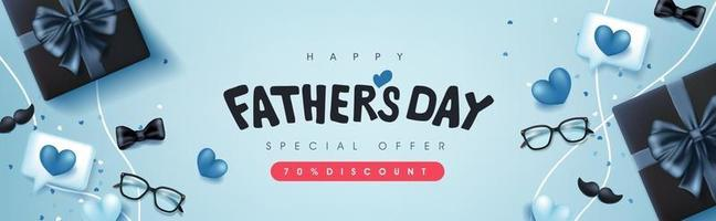 Fathers Day card with gift box for dad on blue background vector