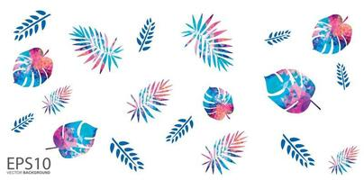 Colorful tropical leaf pattern background vector