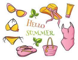 Womens summer beach essentials in cartoon style vector