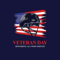 veterans day honoring all who served with army helmet and usa flag vector