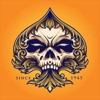 Diseño de lujo adornado de naipes de pala de cráneo vector