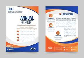 informe anual de diseño de forma de curva azul, naranja y blanca vector
