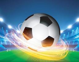 Closeup soccer ball on green grass of stadium Vector EPS 10