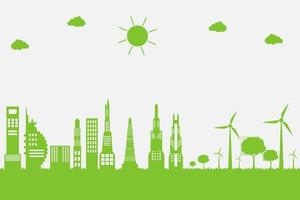 Wind turbines with trees and sun Clean energy with eco friendly concept ideas on city background vector