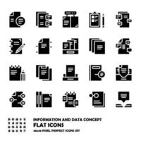 Standard set of Information and data flat icons vector