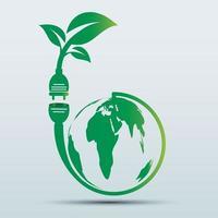 Power plug green ecology emblem or logo vector