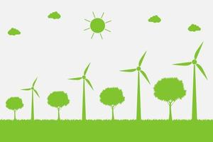 Wind turbines with trees and sun Clean energy with eco friendly concept ideas vector