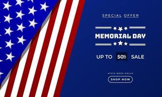 plantilla de banner publicitario de promoción de ventas de fondo del día conmemorativo con diseño de bandera americana vector