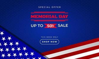 Plantilla de banner publicitario de promoción de ventas de fondo del día conmemorativo con diseño de bandera de ilustración vectorial americana vector