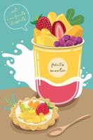 Set of delicious sweets and desserts with mix fruits flavor vector