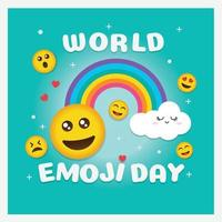 World emoji day greeting card and background template Hand drawn Flat design Vector illustration