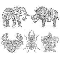 Animal Ethnic Style African Ornament Set Modern Design Illustration vector