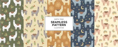 Earth Tone Illustration of Llama Alpaca Seamless Pattern vector