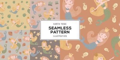 Earth Tone Illustration of Mermaid Seamless Pattern vector