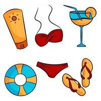 Set of summer elements Lifebuoy cocktail swimsuit sunscreen flip flops Vector illustration cartoon style