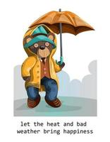 Vector image of a stuffed teddy bear depicted with a hint of humanity in a hat and coat with an umbrella in the rain