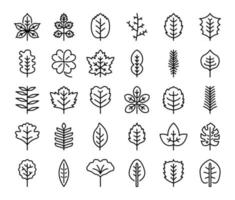 leaves outline vector icons