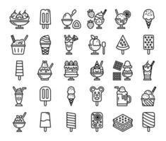 ice cream menu outline vector icons