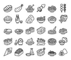 japanese food outline vector icons
