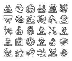 happy halloween outline vector icons