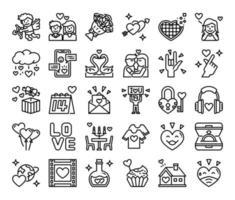 feliz dia de san valentin iconos vectoriales de contorno vector