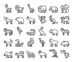 wild animals outline vector icons
