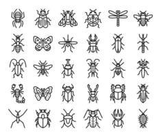 iconos de vector de contorno de insectos