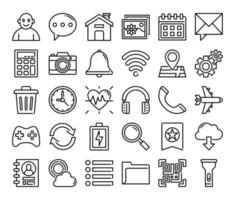 mobile user interface outline vector icons
