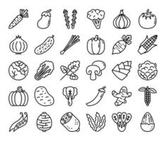 Vegetable Outline Vector Icons