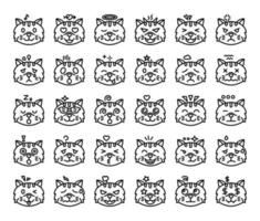 cat emoji outline vector icons
