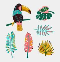 Colorful tropical bird with leaves vector
