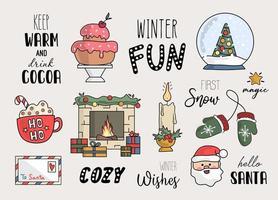 elementos navideños con citas ilustración vectorial vector