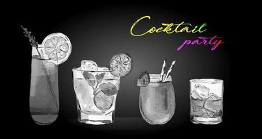 Cocktail Party Drinks vector illustration