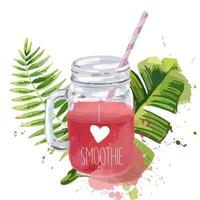 I love smoothie Smoothie jar with tropical leaves vector