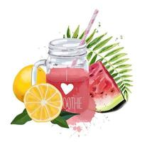 I love smoothie Smoothie jar with tropical leaf watermelon and oranges vector