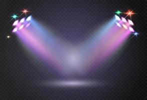 Stadium lights shiny projectors isolated Vector spotlight template Lighting projector illuminated for concert and game illustration
