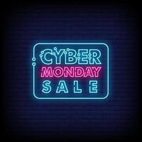 Cyber Monday Sale Neon Signs Style Text Vector