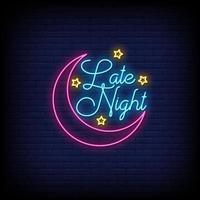 vector de texto de estilo de letreros de neón de noche