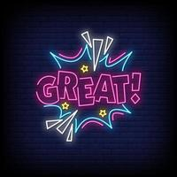 Great Neon Signs Style Text Vector