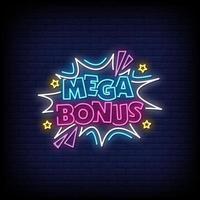 Mega Bonus Neon Signs Style Text Vector