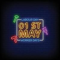 Happy Labour Day Neon Signs Style Text Vector