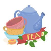 Set of tea cups with jug and floral ornament vector