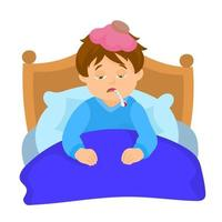 Child rests in his bed with symptoms of illness vector