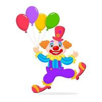 A funny clown with colorful balloons vector